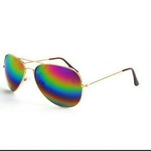 Other - Unisex Rainbow Mirrored Aviator Sunglasses NWT